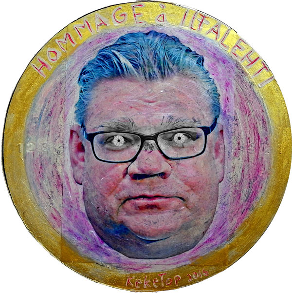 A dartboard is a good base for a portrait of a politician